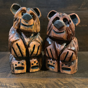 Pine Carved Bear: Sitting up - Rusty Moose Marketplace