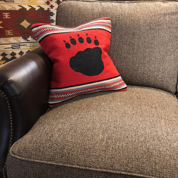 Red Bear Paw Pillow - Rusty Moose Marketplace