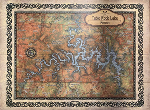 Table Rock Lake Historical Map - Rusty Moose Marketplace