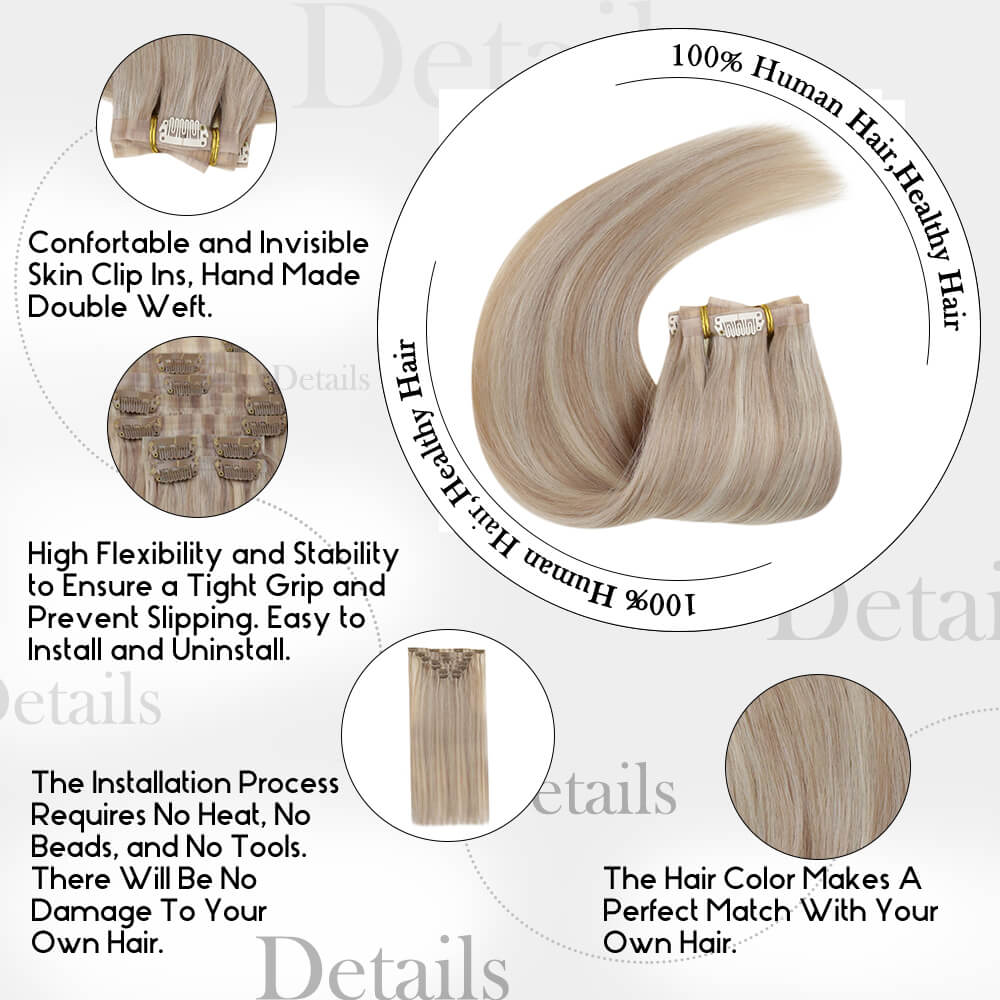 details of piano color PU clip in hair