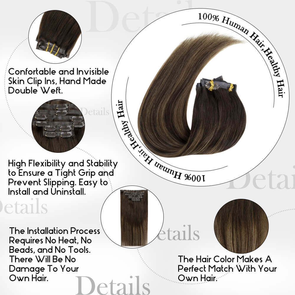 details of balayage color PU clip in hair