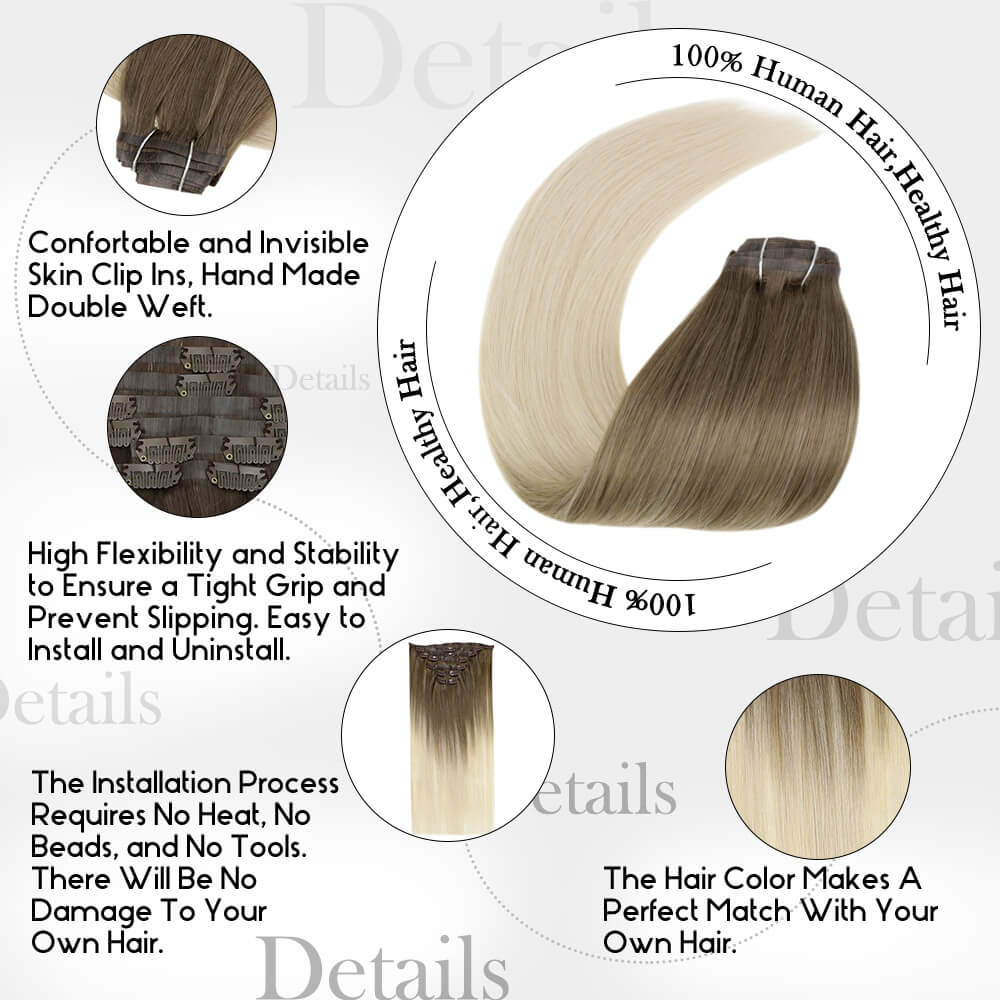 details of balayage ombre color PU clip in hair