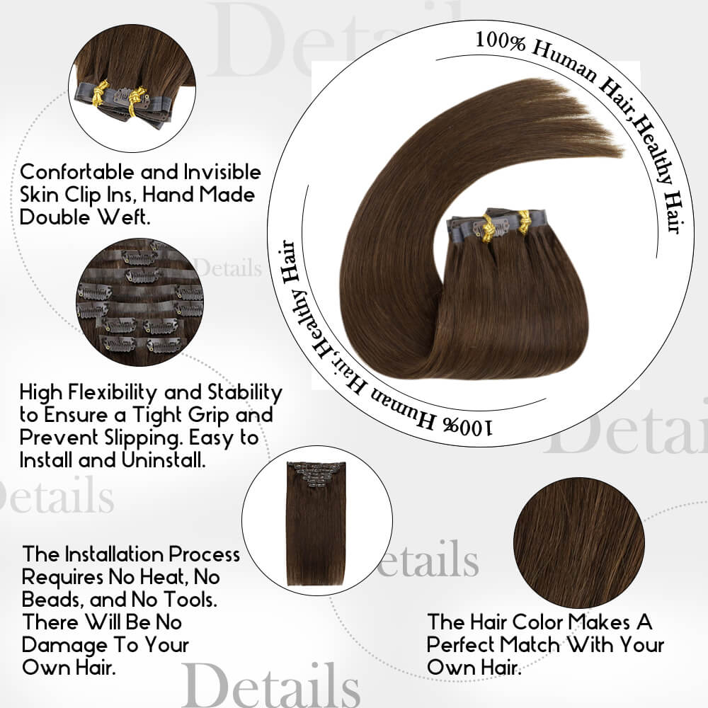 details of chocolate brown color PU clip in hair