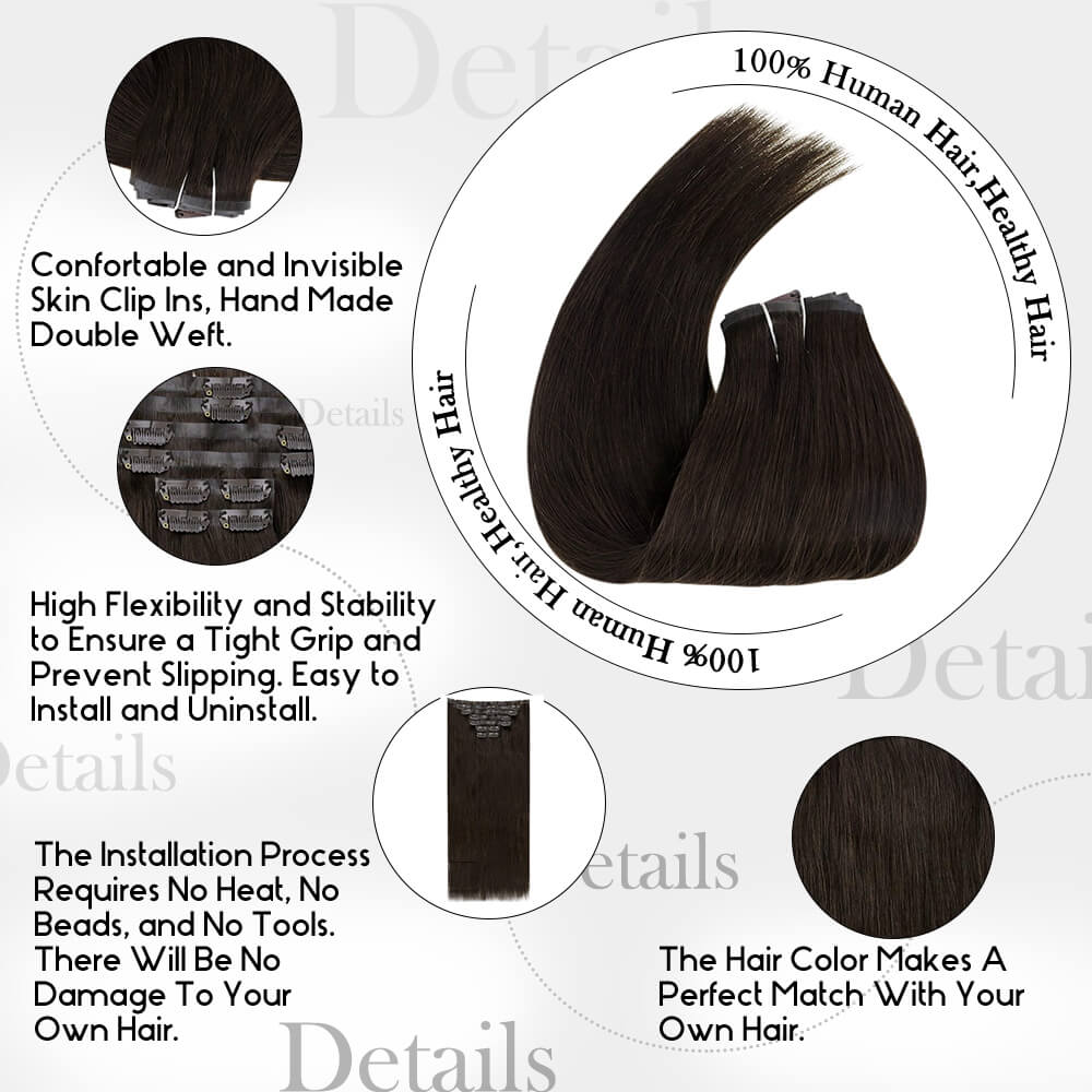 details of pure color darkest brown PU clip in hair