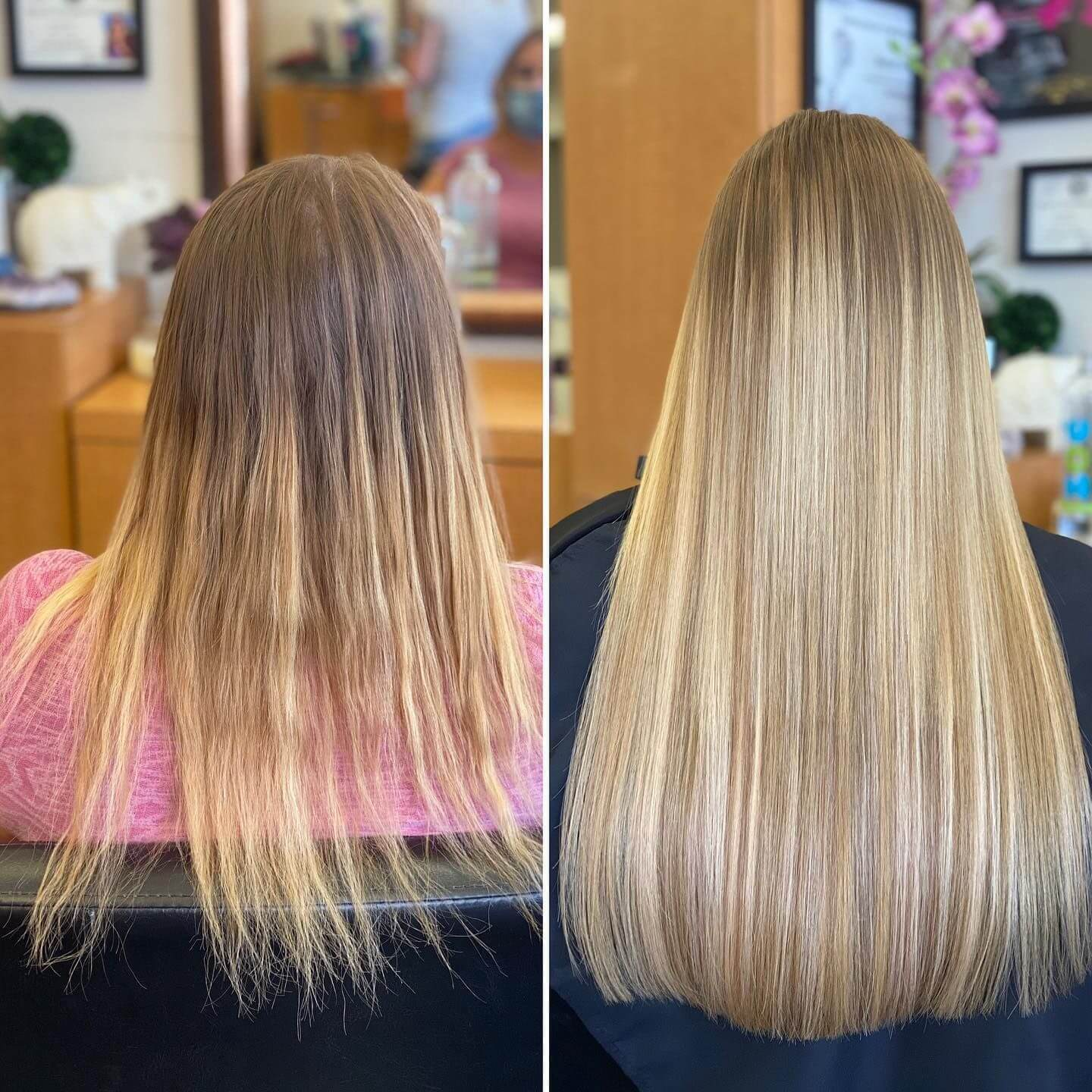 hair extensions human hair before and after