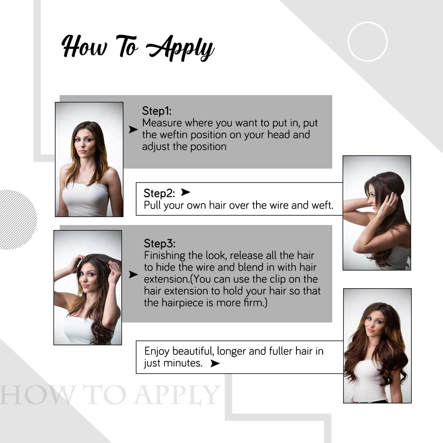 how to apply halo weft hair