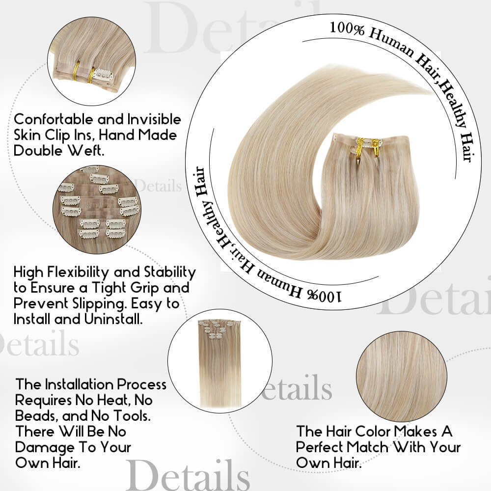 details of balayage color nordic PU clip in hair