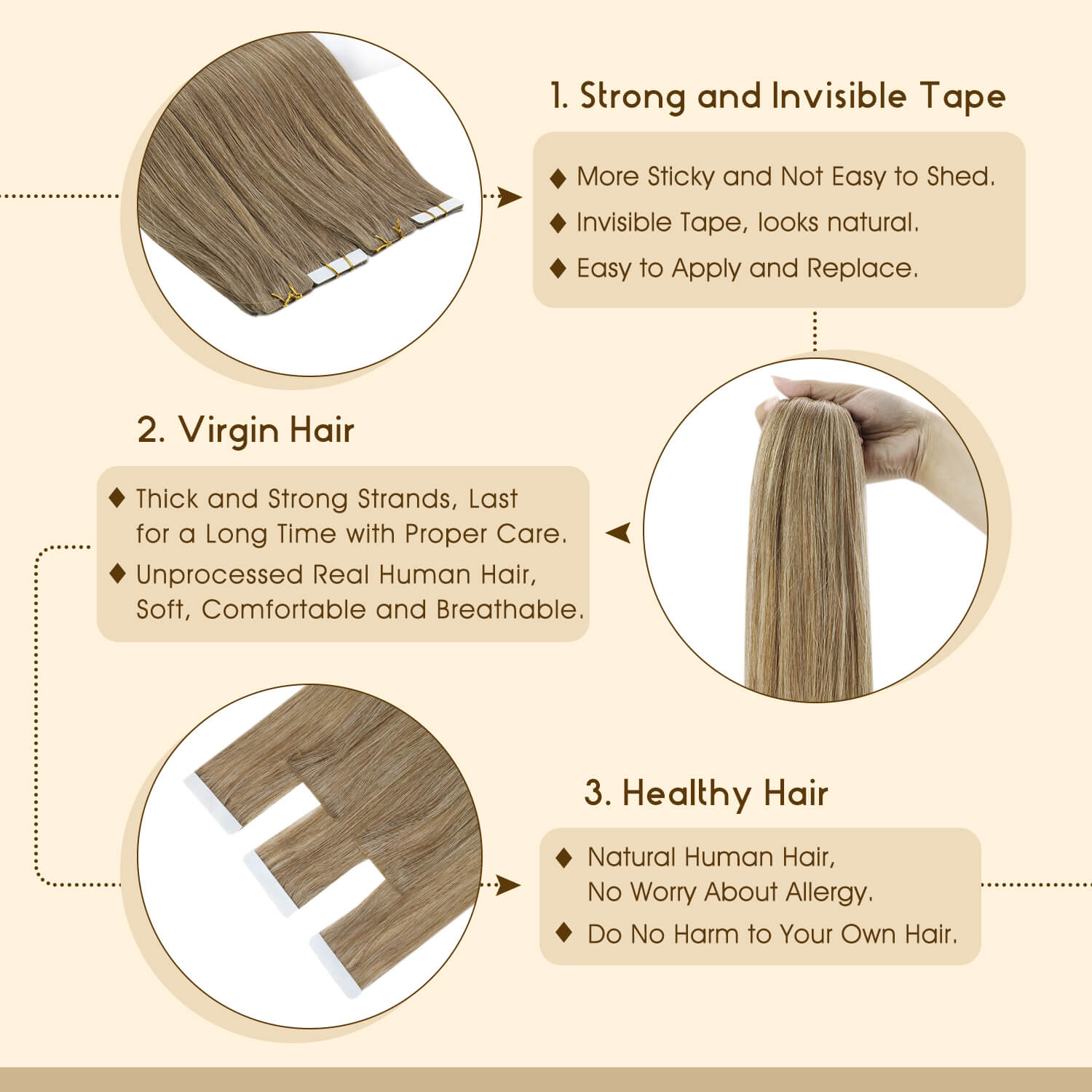 Seamless Injection Virgin Tape in Hair Extensions
