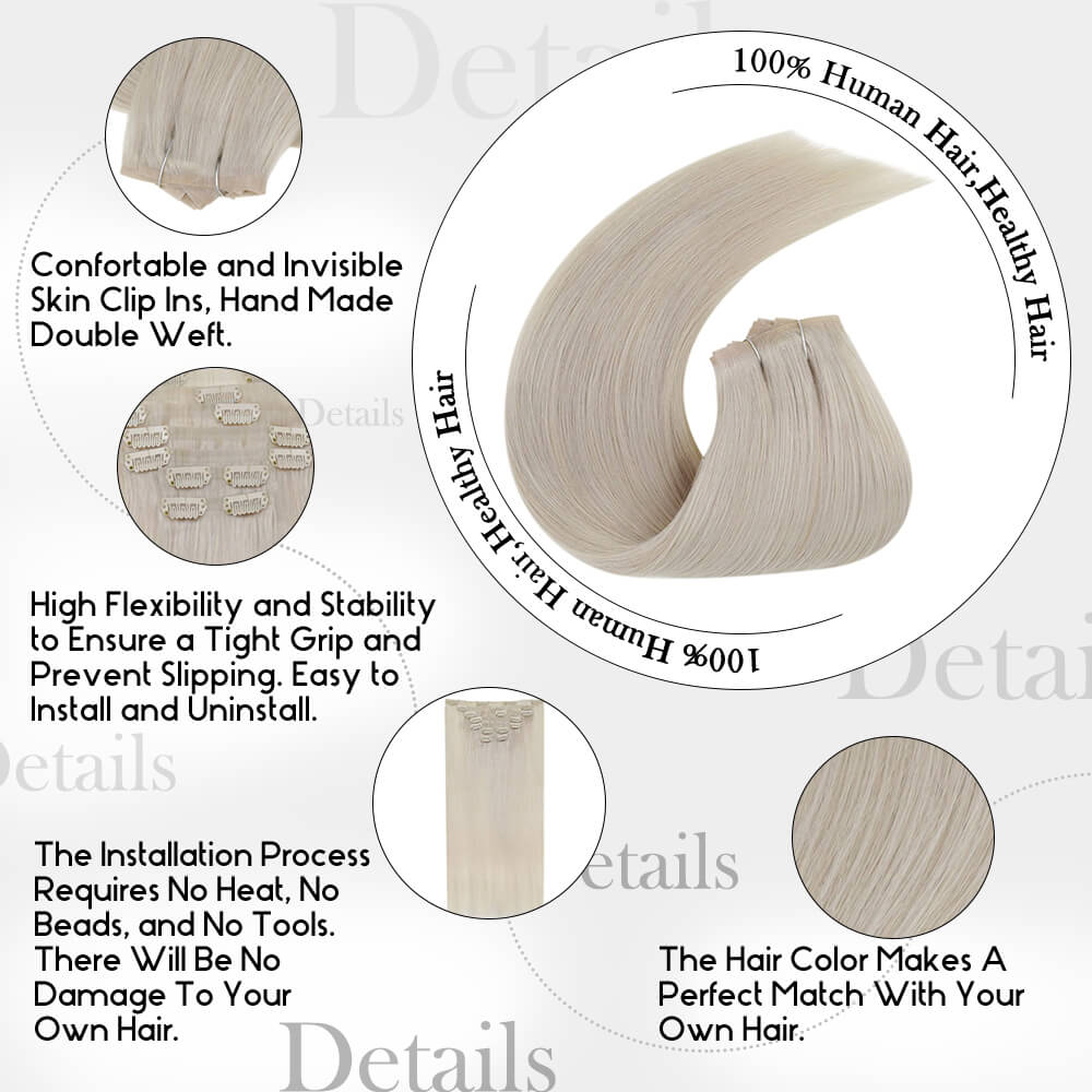 details of white bplnde color PU clip in hair