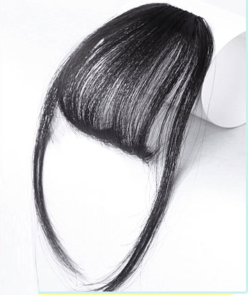 Clip In Air Bangs Air Fringe With Sideburns 100% Remy Human Hair Color #1B Off Black