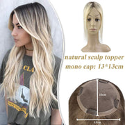 (new)Topper 100% Remy Human Hair 13*13 cm Ombre Straight Color 2T613,Easyouth