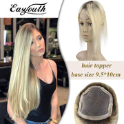 (new)Topper 100% Remy Human Hair 9.5*10cm Ombre Straight Color 2T613,Easyouth