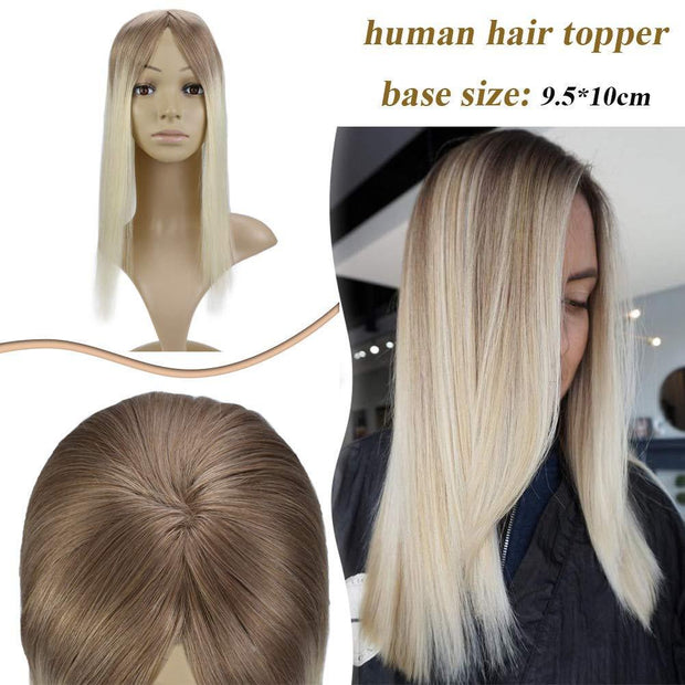 (new)Topper 100% Remy Human Hair 9.5*10cm Ombre Straight Color 10T613,Easyouth