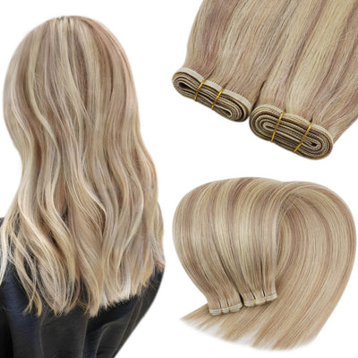 ash blonde highlight blonde flat weft bundles 18 613