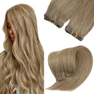 blonde highlight hair extensions flat weft m6 18
