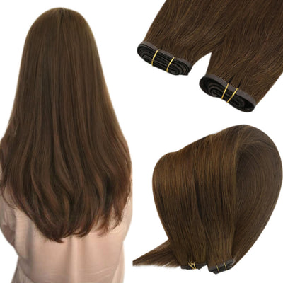 brown hair extensions flat weft 8