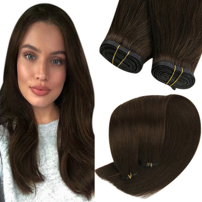 dark brown hair extensions flat weft 4