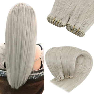 flat weft virgin hair extensions ice blonde