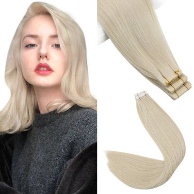 ice blonde virgin tape in hair extensions
