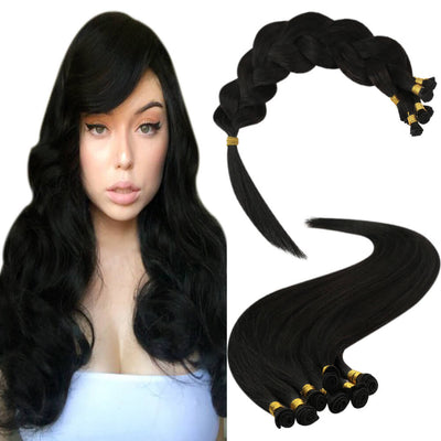 jet black hair extensions hand-tied weft