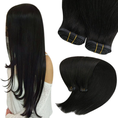 pu flat weft hair extensions off black