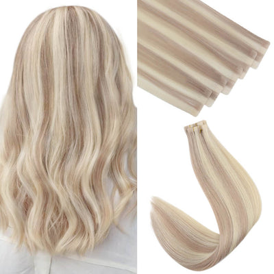 seamlessinjectiontape in hair extensions blonde highlight