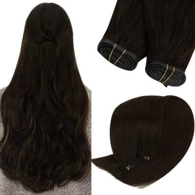 sew in hair extensions pu flat weft darkest brown 2