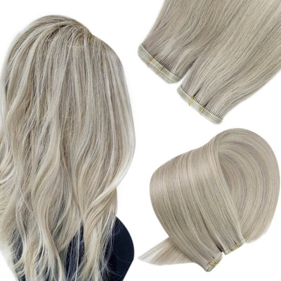 white blonde hair extensions pu hair weft