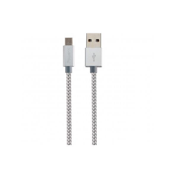 Power N Micro USB Nylon Cable - L100CM - Sliver
