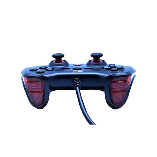 2B Wired Single Game Pad , Turbo Dual Vibration , 3 in one (USB- PS2- PS3) Black ABS Shell+Red Decorating Strip. TGR