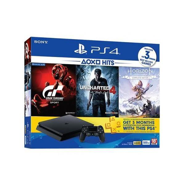 Playstation 4  ( Gran Turismo + Uncharted 4 + Horizon ) + 3 Month Online - 500 GB - Reg2 - Black