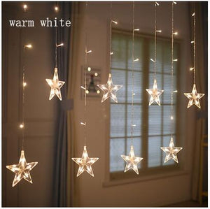 2.5M LED Christmas Garland Star Curtain Lights