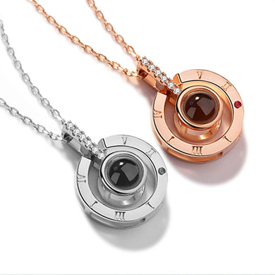 Rose Gold & Silver 100 languages I love you Projection Pendant