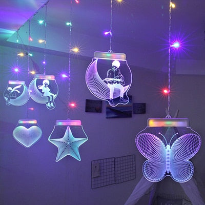 2M*0.7M 3D Cutrain Lights LED For Christmas with Remote