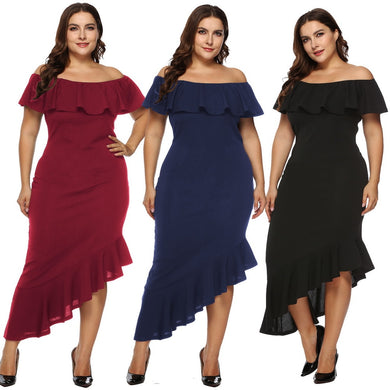 Slim fit Plus Size Stunning Off Shoulder Wrap Dress - Amy's Design