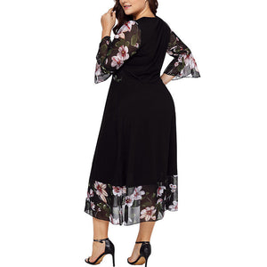 Donna Long Black Patchwork Dress