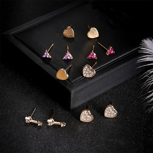 6 Pairs / Set  Classic Crystal Earrings Set