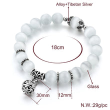 Load image into Gallery viewer, Natural opal beads bracelets crystal fashion women bracelet vintage stainless steel braceletes for women