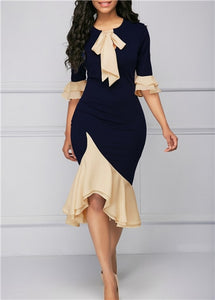 Elegant Tie Flare Ruffle Dress