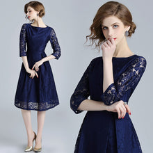 Load image into Gallery viewer, Olivia-Blue Lace Hollow Out Dress