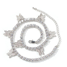 Load image into Gallery viewer, Butterfly Miami Cuban Chain Silver Iced Out Necklace
