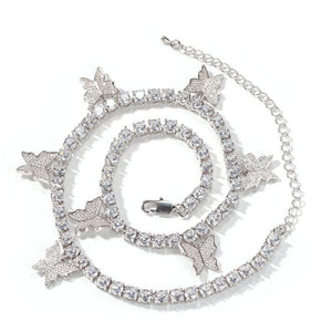 Butterfly Miami Cuban Chain Silver Iced Out Necklace