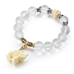 Natural opal beads bracelets crystal fashion women bracelet vintage stainless steel braceletes for women