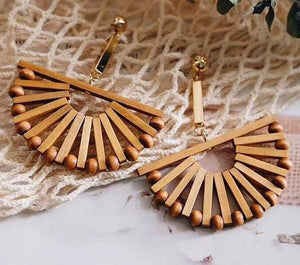 Boho Wood Drop Earrings