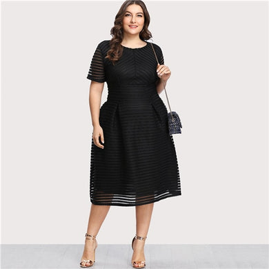 ESTYLO Donna Black Striped Mesh Dress