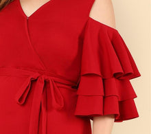 Load image into Gallery viewer, Plus Size Red Cold Shoulder Ruffle Dress 2019