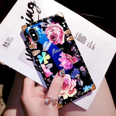 Fashion Blu-ray Camellia Rose Flower Case for iPhone