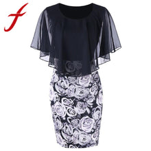 Load image into Gallery viewer, Casual Plus Size Rose Print Chiffon Dress