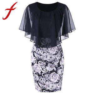 Casual Plus Size Rose Print Chiffon Dress