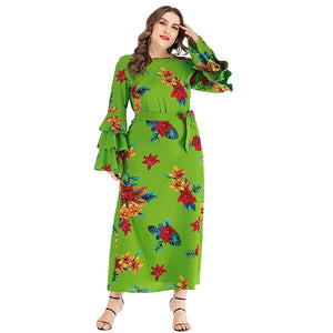 Floral New Design Ruffles Flare Long Maxi